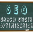 Stock Photo: SEO Search Engine Optimization - Words on Chalkb