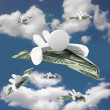 Stock Photo: Money Paper Airplanes - Flying to Wealth