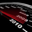 2010 - Speedometer Reaching New Year - Stock Photo