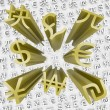 Gold Currency Symbols Fly Out of Money Backgroun — Stock Photo