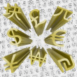 Gold Currency Symbols Fly Out of Money Backgroun — 图库照片