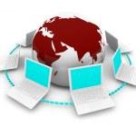 在地球附近的笔记本电脑的全球网络 — 图库照片