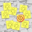 Targeted Customer in Bulls-Eye - Sticky Notes — Stock Photo