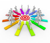 Many Competing for Same Goal - Target — Stock Photo