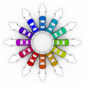 Cars on Arrows - Comparison Shopping — Stock Photo