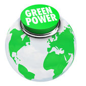 Green Power - Earth Button — Stock Photo