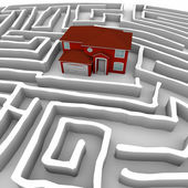 Red Home in Maze - Find Path to Ownership — Stock Photo