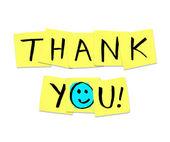 Tack - ord på gula klisterlappar — Stockfoto