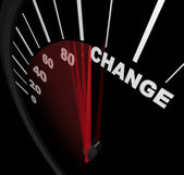 Racing Toward Change - Speedometer — Stock Photo