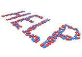 Help - Word in Red and Blue Capsules — Stock Photo