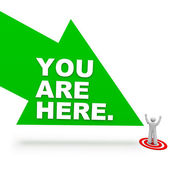 You are Here - Arrow and Person — Stock Photo