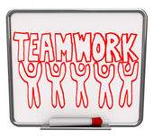 Teamwork on Dry Erase Board with Team Members — Stock Photo