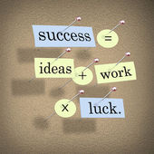 Success Equals Ideas Plus Work Times Luck — Stock Photo