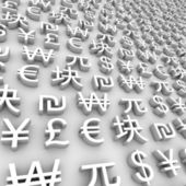 Global Currency Symbols - White — Stock Photo
