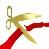 Gold Scissors Cutting Red Ribbon — Stock Photo