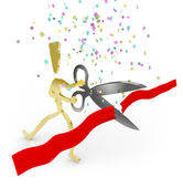 Cutting the Red Ribbon - Grand Opening — Stock Photo