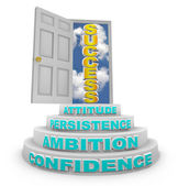 Steps Rising to Success - Open Door — Stock Photo
