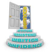 Steps Rising to Success - Open Door — Stock Photo