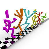 Photo Finish - Runners Cross Finish Line Togethe — Stock Photo