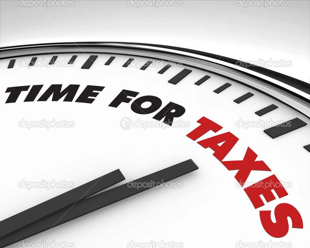 White clock with words Time for Taxes on its face  Stock Photo #2038743