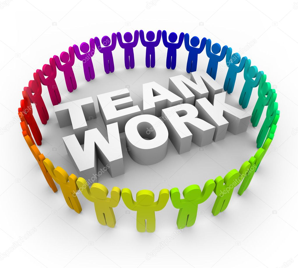 Many of various colors standing around the word Teamwork — Stock Photo #2038749