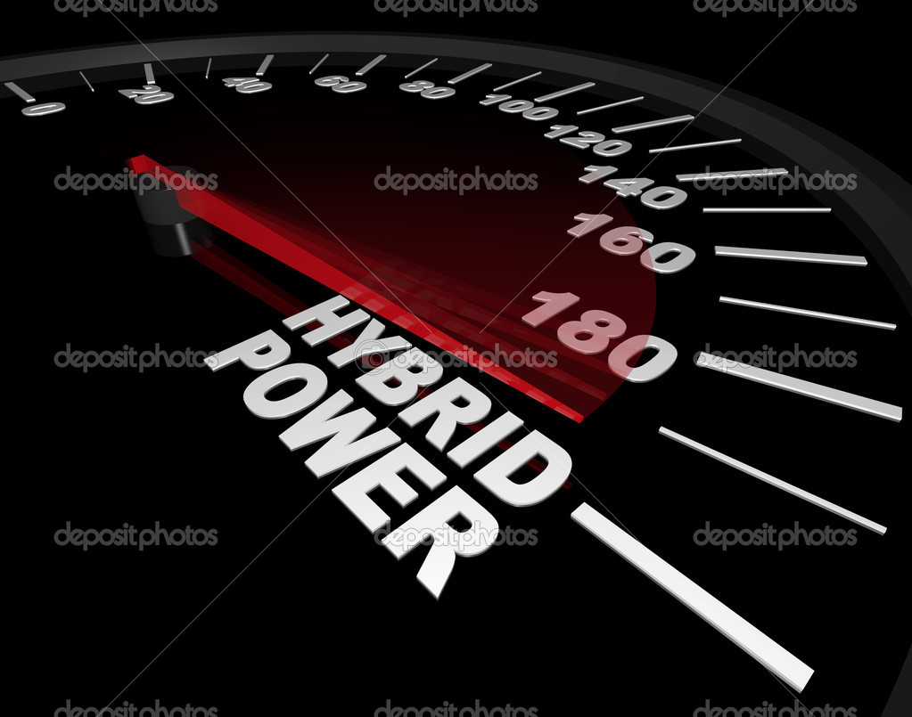 A speedometer with red needle pointing to the words Hybrid Power — Stock Photo #2038818