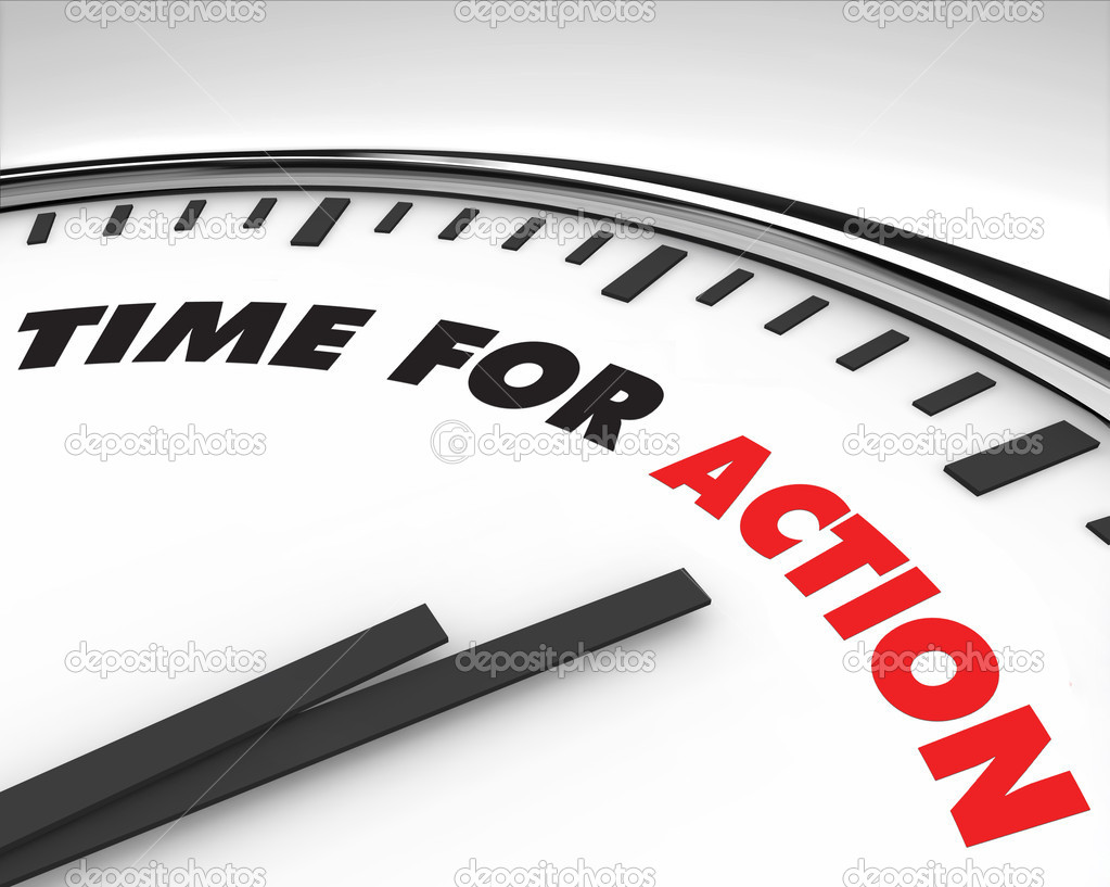 White clock with words Time for Action on its face  Stock Photo #2038831