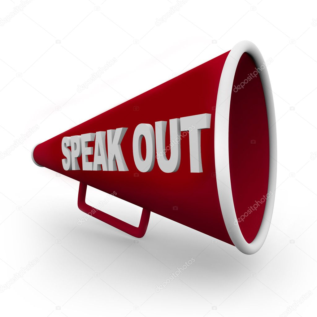 A red bullhorn with the words Speak Out on its side — Stock Photo #2039126