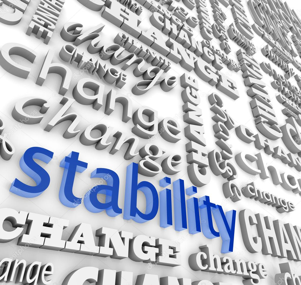 The word Stability surrounded by many versions of the word Change — Stock Photo #2039191