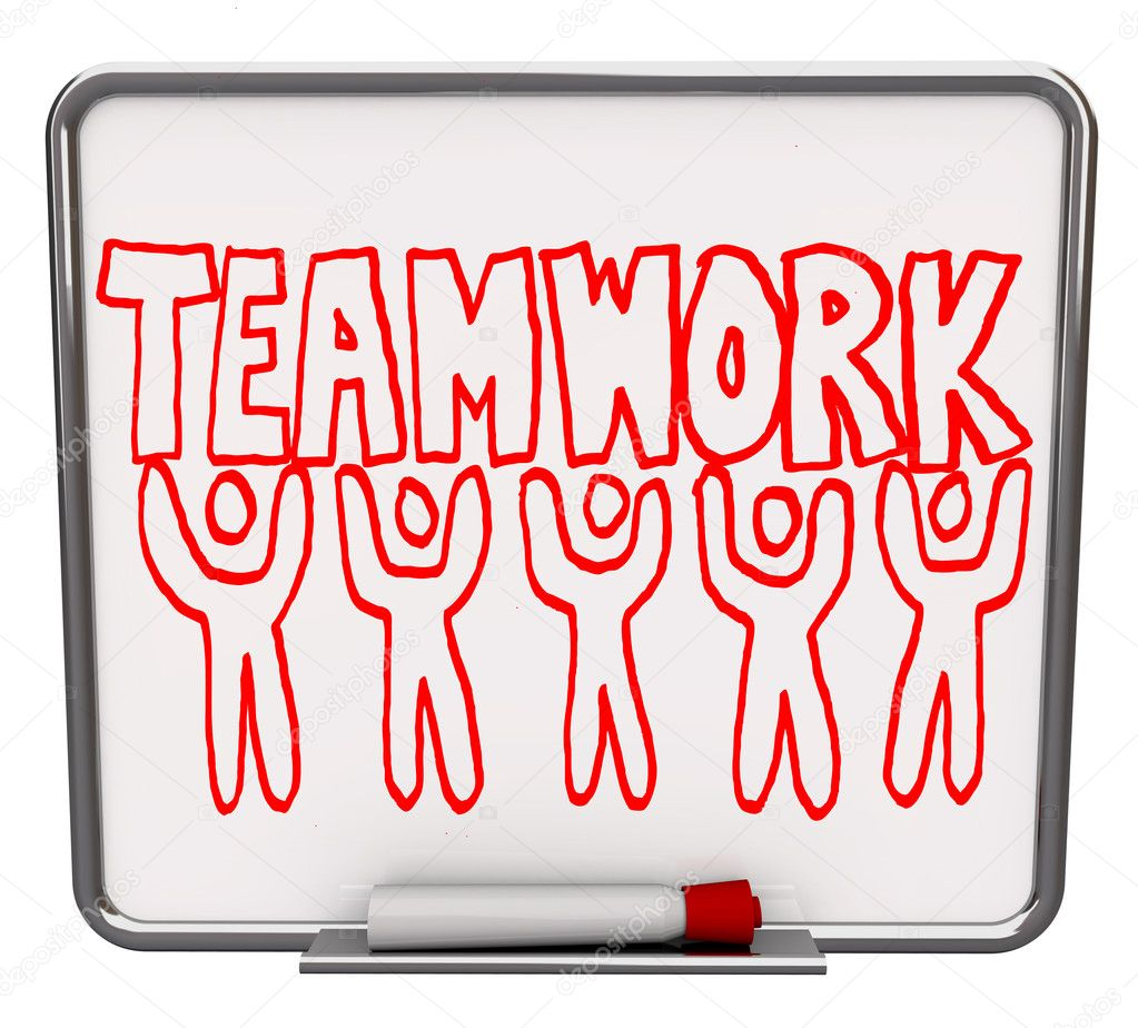A white dry erase board with red marker, with the word Teamwork drawn with several illustrated — Stock Photo #2039231
