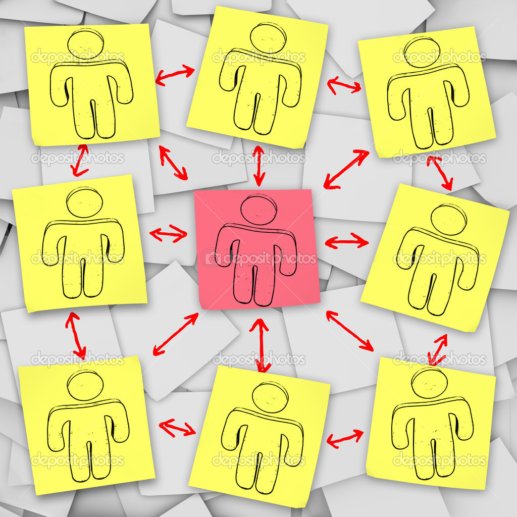 A social network of in this episode of Sticky Note Theatre.  Stock Photo #2039269