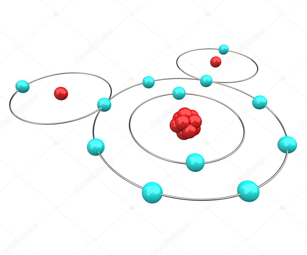 An atomic diagram of water, or H20, showing its protons, neutrons and electrons including the hydrogen and oxygen atoms — Stock Photo #2039444