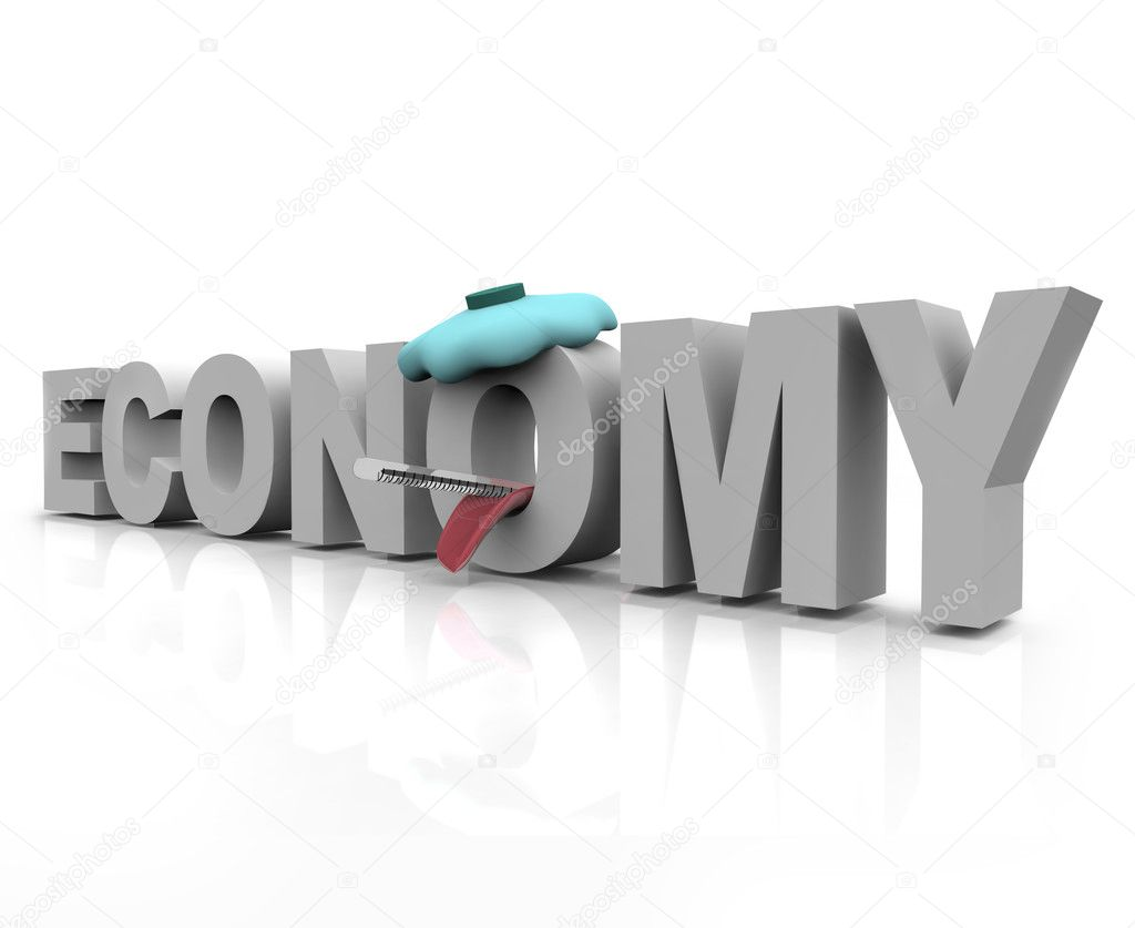 The word economy is sick with icepack and thermometer — Stock Photo #2039457
