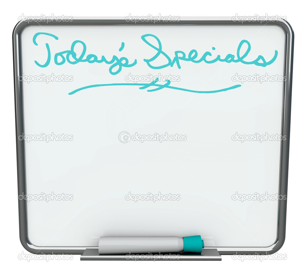 A white dry erase board reading Today's Specials with blue marker, with plenty of blank copy space for your message — Stock Photo #2039781