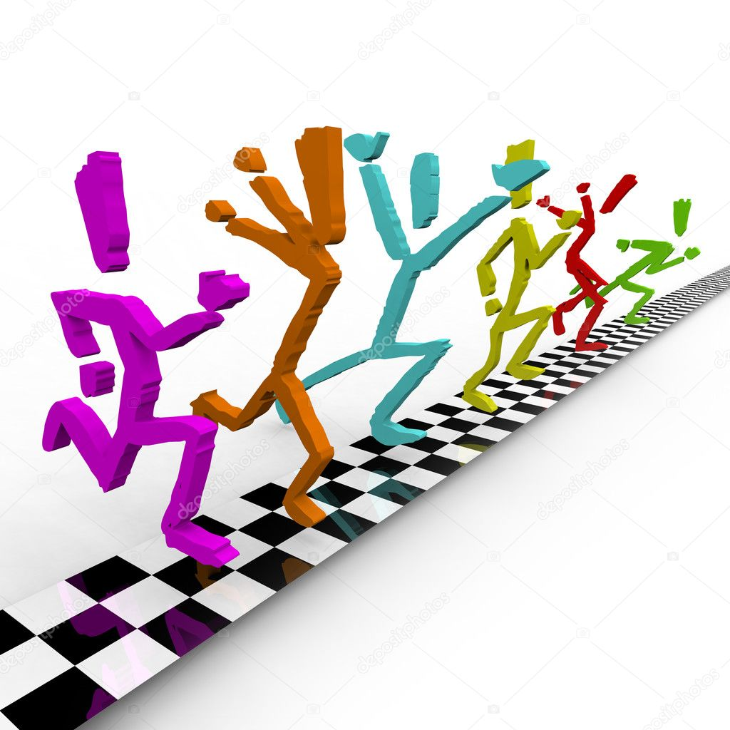 A team of colorful runners cross the finish line at the same time  Stock Photo #2039824