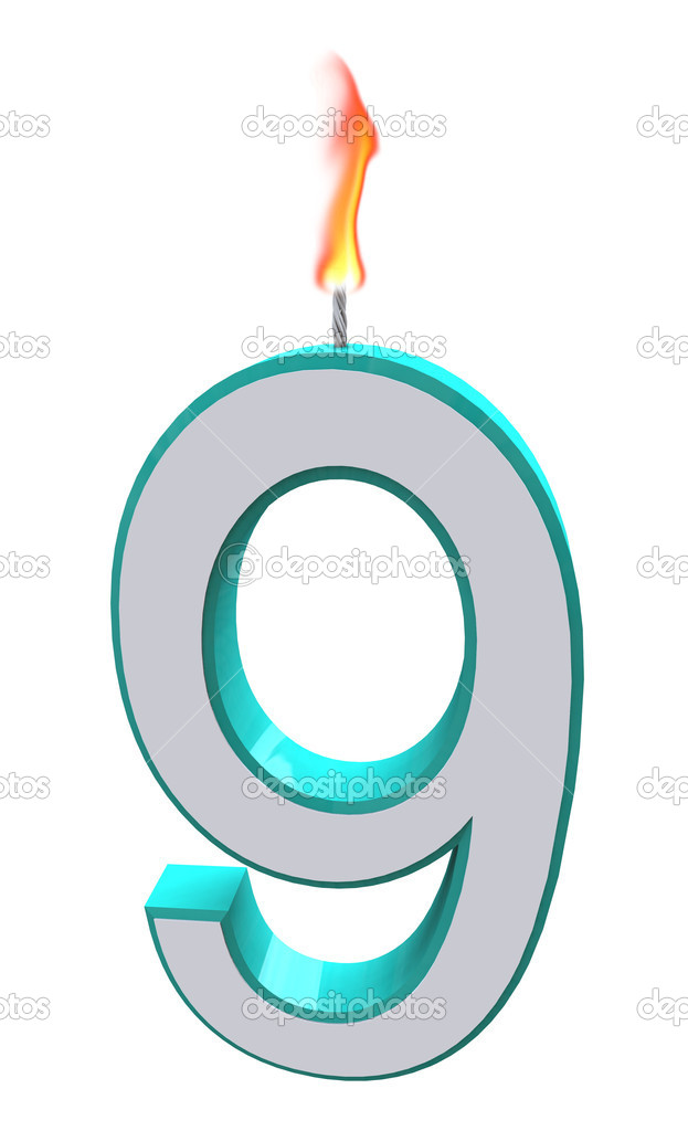 A blue and white number 9 candle with fire on wick  Stock Photo #2039899
