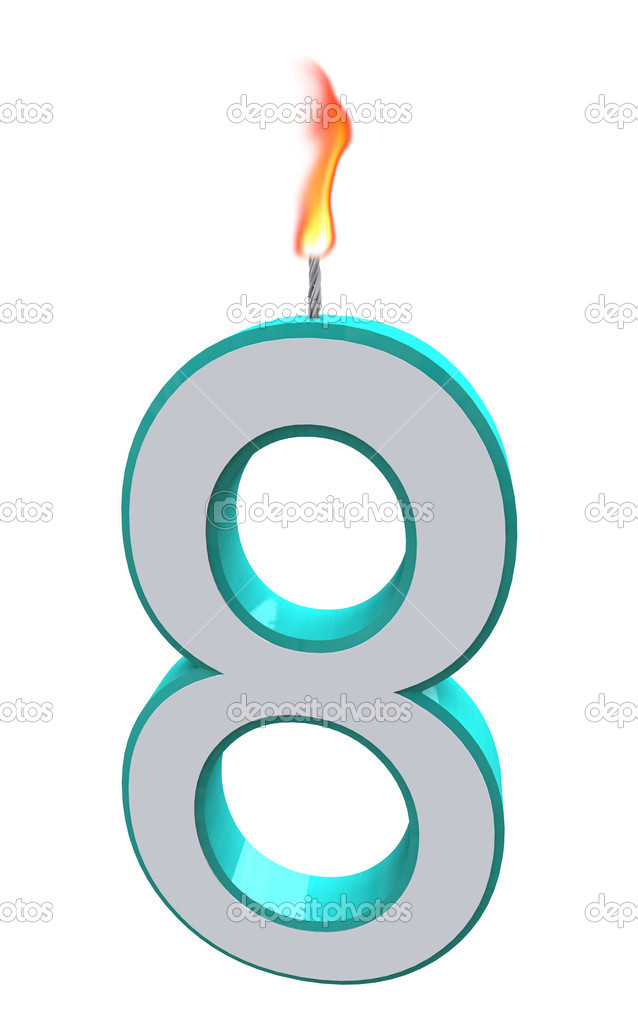 A blue and white number 8 candle with fire on wick  Foto Stock #2039922