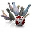 World Currencies - Bowling Strike — Stock Photo