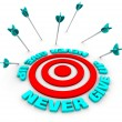 Arrows Miss Bulls-Eye - Never Give Up - Stock Photo