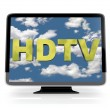 HDTV Flatscreen Display on White — Stok fotoğraf