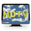 HDTV Flatscreen Display on White - Foto Stock