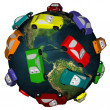 Royalty-Free Stock Photo: Cars Driving Around the Earth