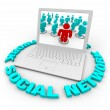Social Network Laptop - Words - Stock Photo