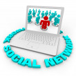 Social Network Laptop - Words — Stockfoto