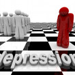 Depression - One Person Stands Alone - Stock Photo