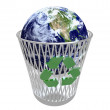 Earth in Crisis - the World in Recycling Bin - Stock Photo