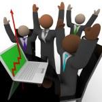 Business Team Cheers Growth Arrow Laptop — Stock Photo