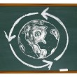Earth and Recycle Symbol on Chalkboard - Stock Photo