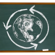 Stock Photo: Earth and Recycle Symbol on Chalkboard