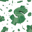 floating dollar signs - white background — Stock Photo
